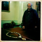 Geoff, Deputy Sargaent at Mace, with the very Mayoral Chain worn by Mr. H.M. Bower over one hundred years ago, two decades before he sent his receipt to Florence White