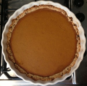 Best ever healthy, spiced Pumpkin Pie for an Autumn eve…cooling on the stove top. I must resist.