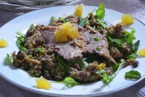 Quinoa & Currant Salad with wild rocket, mint and goose; orange jelly