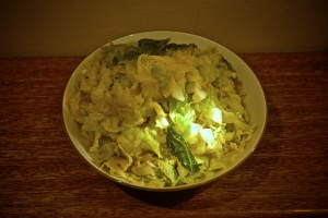 shredded cabbage with ham hough